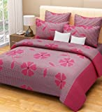 Home Candy 100% Cotton Fuschia Flowers and Checks Double Bed Sheet with 2 Pillow Covers