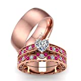 LOVERSRING Couple Ring Bridal Set His Hers Rose Gold Plated CZ Stainless Steel Wedding Ring Band Set (Color: White)