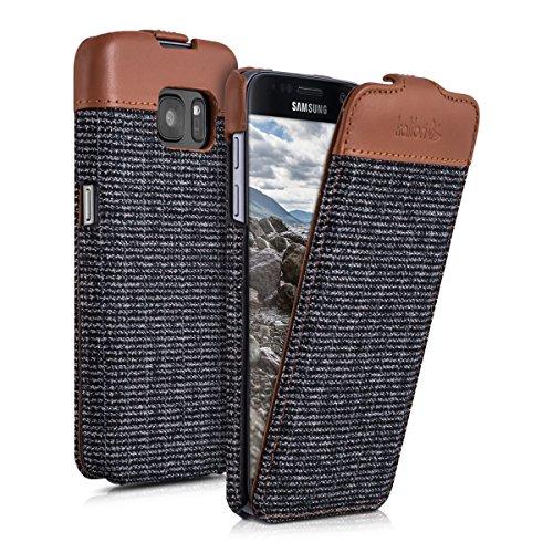 kalibri-Flip-Case-Hlle-Emma-fr-Samsung-Galaxy-S7-Aufklappbare-Stoff-und-Echtleder-Schutzhlle-Tasche-im-Flip-Cover-Style-in-Braun-Anthrazit