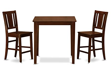 East West Furniture VNBU3-MAH-W 3-Piece Counter Height Table Set, Mahogany Finish