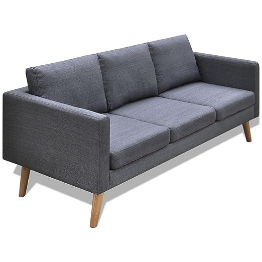 Festnight 3-Sitzer-Sofa Stoffsofa Couch 3-Sitzer Loungesofa mit Ruchenlehne Holzrahmen Sitzkomfort Dunkelgrau