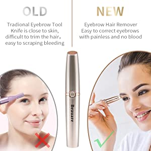 Eyebrow Trimmer Epilator Eyebrow Hair Remover Painless for Face Lips Facial Portable Eyebrow Razor with Light for Women Men
