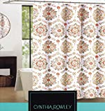 Cynthia Rowley Clover Medallion Fabric Shower Curtain In Shades Of Orange, Peach, Tan & Grey On White