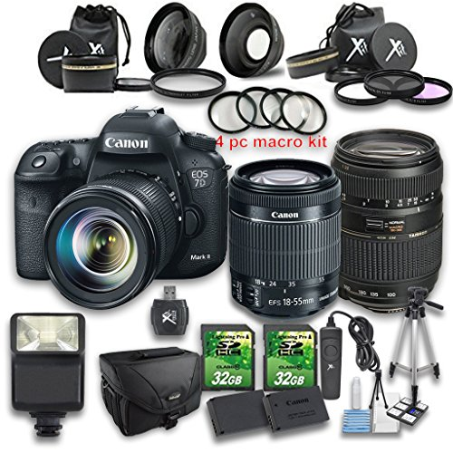 Canon EOS 7D Mark II STM DSLR Camera + 18-55mm IS STM Lens +Tamron 70-300mm f/4-5.6 Di LD Macro Autofocus Lens + Wideangle Lens + Telephoto Lens (Canon 7d Mark Ii For Dummies compare prices)