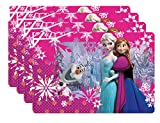 Zak! Designs Placemat with Elsa, Anna and Olaf from Frozen, Set of 4, BPA-free Plastic