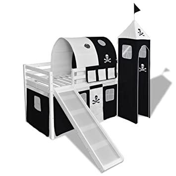 vidaXL Lit mezzanine avec échelle toboggan blanc thème des pirates