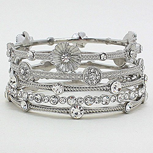 Silver Crystal Flower Bangle Bracelet Premier Brighton Bay