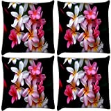 Snoogg White Petals Pack Of 4 Digitally Printed Cushion Cover Pillows 14 X 14 Inch