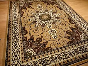 Beige and gold persian style rug 8x11 oriental - Gold rugs for living room ...