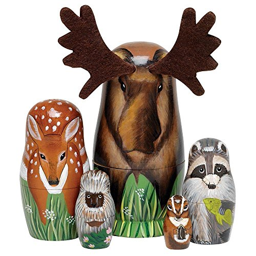 Bits-and-Pieces-Woody-And-Friends-American-Woodland-Creatures-Nesting-Dolls-Hand-Painted-Wooden-Nesting-Dolls-Matryoshka-Animal-Figurines-Set-of-5-Dolls-From-55-Tall