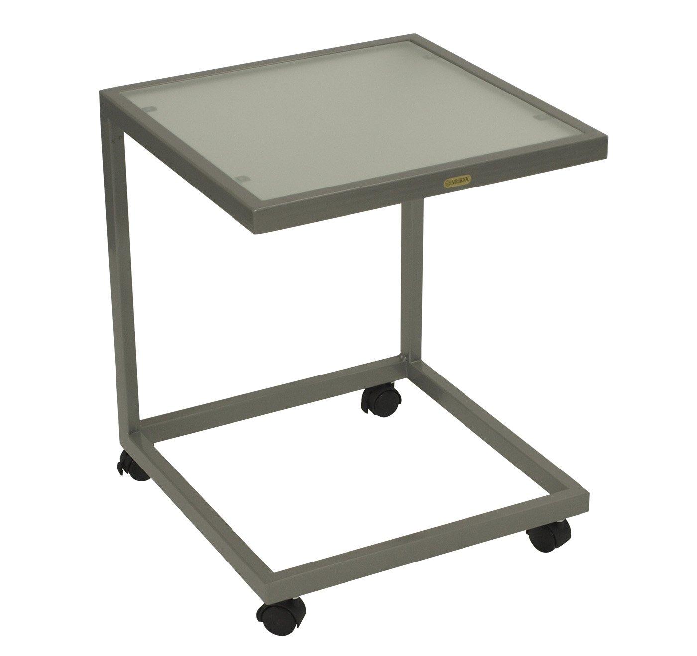 Beistelltisch rollbar 45x45x55cm, Stahl silber + Sicherheitsglas günstig online kaufen