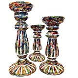 MG Decor Glass Bangle With Mirror Stripes Pillar Candle Stand Vivid Set Of 3