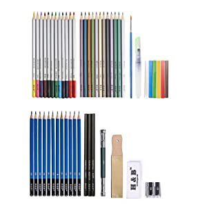 H & B Sketching Pencils Set, Drawing Pencils and Sketch Kit, 51-Piece Complete Artist Kit, Graphite Pencils, Metallic Color Pencils, Water-soluble Color Pencils, Professional Sketch Set for Drawing (Tamaño: 51-piece)