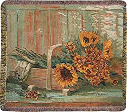 Farm Garden Sunflowers Jacquard Woven Fringed Throw Blanket 60quot X 50quot