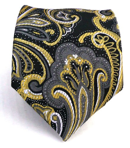 100% Silk Woven Black and Gold Paisley Tie