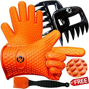 3 x No.1 Set: The No.1 Silicone BBQ /Cooking Gloves Plus The No. 1 Meat Shredder Plus The No.1 Silicone Basting Brush?PLUS 3 EBooks w/ 344 Recipes?Superior Value Premium Set?100% Money Back Satisfaction Guarantee Grace Kitchenwares