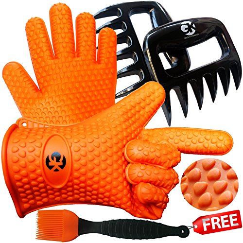 3 x No.1 Set: The No.1 Silicone BBQ /Cooking Gloves Plus The No. 1 Meat Shredder Plus The No.1 Silicone Basting Brush★PLUS 3 EBooks w/ 344 Recipes★Superior Value Premium Set★100% Money Back Satisfaction Guarantee