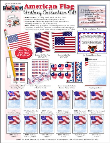 Scrapsmart - American Flag History Collection Software - Jpeg, Pdf, And Microsoft Word Files For Mac [Download]