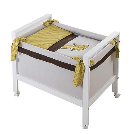 Belino 9788-Minicuna quadrata, motivo bonny cioccolato, colore: Senape e Bianco