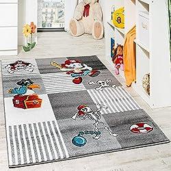 Kinder Teppich Pirat mit Papagei Schatzkiste Kinderzimmer Karo Grau Anthrazit, Grösse:80x150 cm