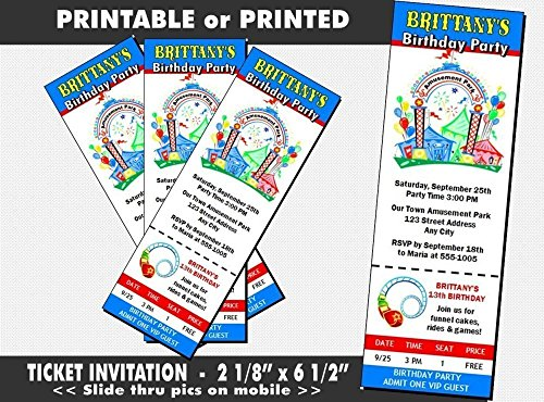 Amusement Park Birthday Party Ticket Invitation, Printable or Printed Option (Amusement Tickets compare prices)