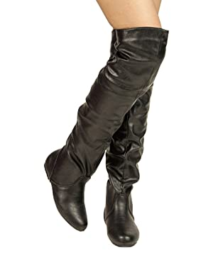 Women's TREND-Hi Over-the-Knee Thigh High Flat Slouchy Shaft Low Heel Boots by ROOM OF FASHION BLACK PU (13)