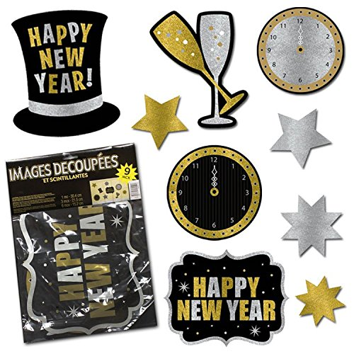New Year's Eve Glitter Cutouts-9 Pack