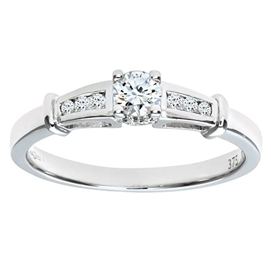 Naava 9ct White Gold Diamond Single Stone With Diamond Shoulders Ladies Ring