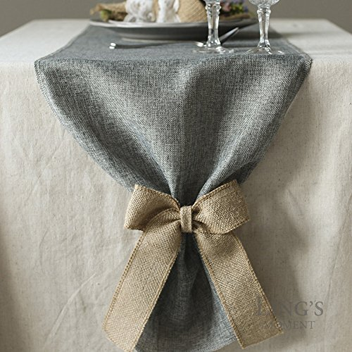 Gray Linen Table Runner with Burlap Bow Ties
