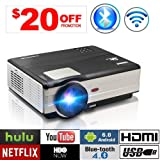 WiFi Wireless Video Projector, HD WXGA Home Theatre Projectors LCD LED 3500 Lumen Support 1080P Airplay Screen Mirror Apps HDMI USB VGA TV Android Proyector Built-in Speaker for Gaming Outdoor Movie (Color: 3500 Lumens HD Projector Wifi Bluetooth)