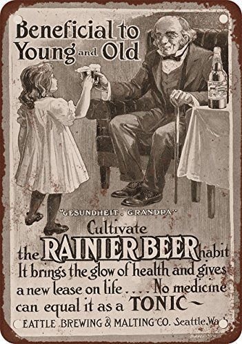 1906 Rainier Beer for Children Vintage Look Reproduction Metal Tin Sign 7X10 Inches (Rainier Beer Sign compare prices)