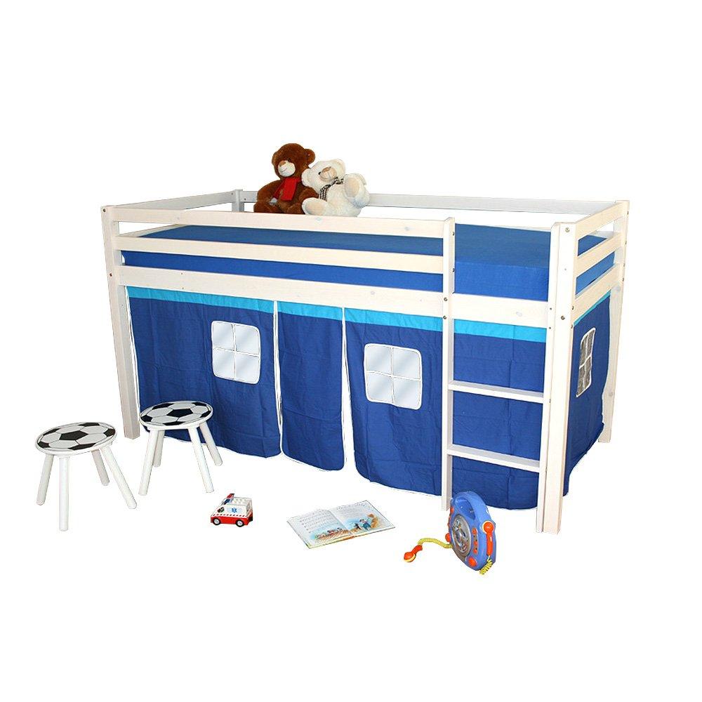 Homestyle4u Hochbett Kinderbett Kinder Kinderhochbett Lattenrost Spielbett Vorhang weiß Neu online bestellen