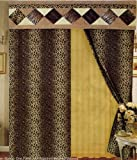 Leopard Print Patchwork Curtains/drapes with Attach Valance & Sheers Set