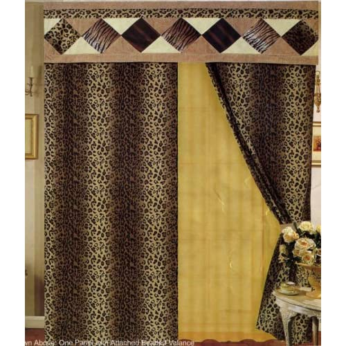 Leopard print patchwork curtains drapes with attach valance amp sheers