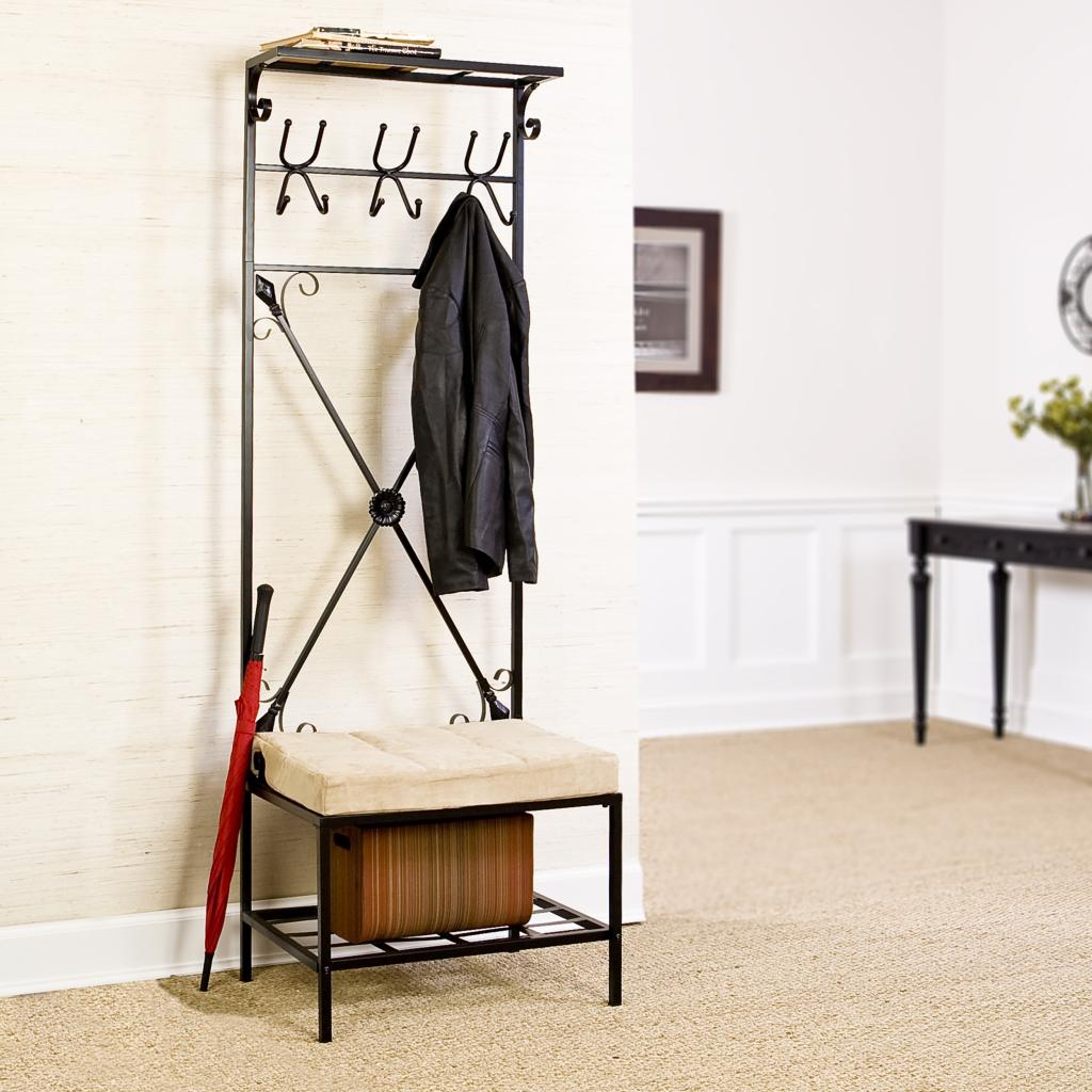 Sei black metal entryway storage bench with Mudroom bench and coat rack