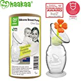 Haakaa Silicone Breast Pump with Suction Base and Flower Stopper 100% Food Grade Silicone BPA PVC and Phthalate Free (5oz/150ml) (Orange) (Color: Orange)