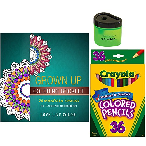 Adult-Coloring-Book-Starter-Gift-Pack-Includes-Crayola-Colored-Pencils-Love-Live-Color-Mandala-Grown-Up-Coloring-Book-and-Prismacolor-Scholar-Sharpener-Bundle-of-3