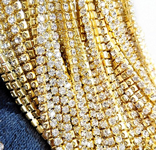 Review 10 Yard Crystal Rhinestone Close Chain Clear Trim Sewing Craft 2mm Gold color