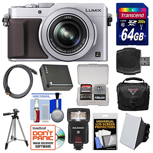 Panasonic Lumix DMC-LX100 4K Wi-Fi Digital Camera (Silver) with 64GB Card + Case + Flash & Soft Box + Battery + Tripod + Kit (Panasonic Lumix Wireless compare prices)