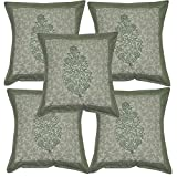 Indian Cotton Designer Cushion Cover Traditional Block Print Work 16 X 16 Inches