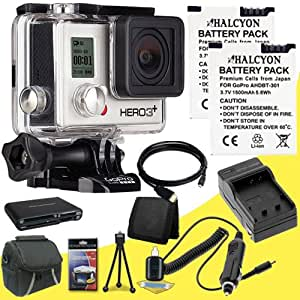 GoPro HERO3+ Silver Edition + Two Replacement Lithium Ion Batteries w/ External Rapid Charger + Mini HDMI Cable + Carrying Case + Multi Card USB Reader + Memory Card Wallet + Deluxe Starter Kit DavisMAX Bundle