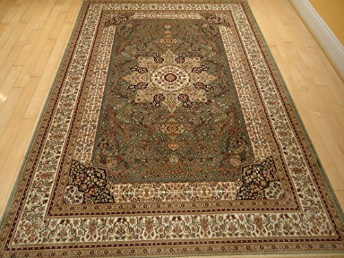 Luxury green rugs silk traditional rug persian area rugs for Living room rugs 6x9