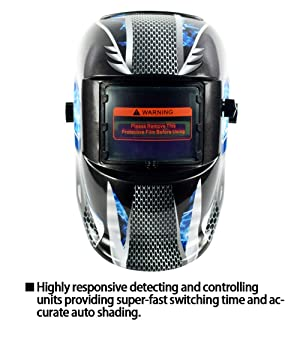Bibowa Welding Helmet Auto Darkening Solar Powered Full Face Welding Mask Head Protection Protecting Welders From Spatters and Harmful Radiant for Tig Mig Arc Weld Grinding Blue (Color: Blue)