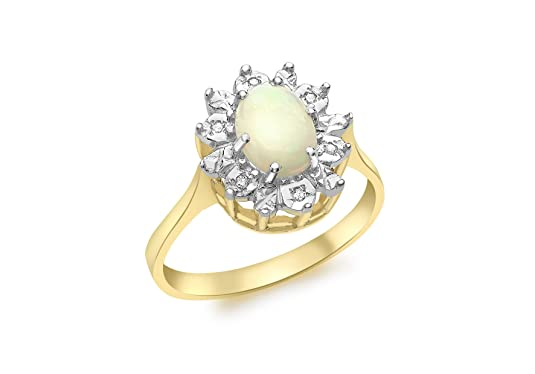 Carissima Gold 9ct Yellow Gold Diamond and Opal Ring - Size L