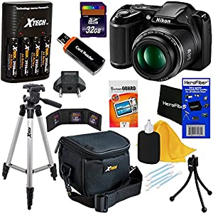 Nikon COOLPIX L340 Digital Camera with 28x Zoom & Full HD Video (Black) International Version + 4 AA Batteries & Charger + 32GB Dlx Accessory Kit w/HeroFiber Cleaning Cloth