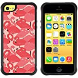 Pulsar iFace Series Soft TPU Skin Bumper Case Cover for Apple iPhone 5C , Flamingo Pink Flock Bird Miami Peach