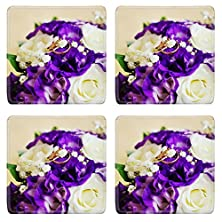 buy Msd Square Coasters 4 Pack Per Order Bride Bouquet And Wedding Rings Image Id 23838066