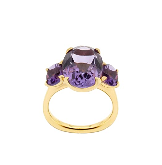 Dinny Hall Georgia Three Stone Ring with Amethysts