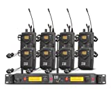 XTUGA RW2080 Rocket Audio Whole Metal Wireless in Ear Monitor System 2 Channel 8 Bodypack Monitoring with in Earphone Wireless Type Used for Stage or Studio (Color: black)