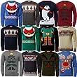 Mens Novelty Christmas Jumper Ho Ho Ho Xmas Season Knitwear Sweater Pullover, REINDEER Blue, Medium
